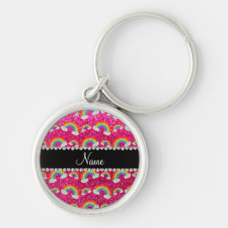 Personalized name neon hot pink glitter rainbows key chains