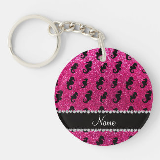 Personalized name neon hot pink glitter seahorses Double-Sided round acrylic key ring