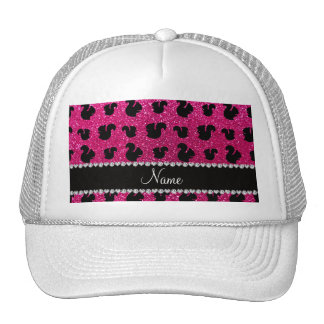 Personalized name neon hot pink glitter squirrel trucker hats