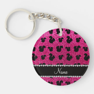 Personalized name neon hot pink glitter squirrel Double-Sided round acrylic key ring
