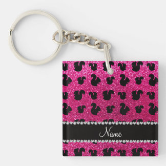 Personalized name neon hot pink glitter squirrel acrylic key chains