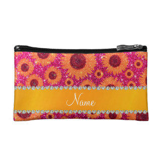 Personalized name neon hot pink glitter sunflowers cosmetic bags