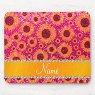 Personalized name neon hot pink glitter sunflowers mousepad