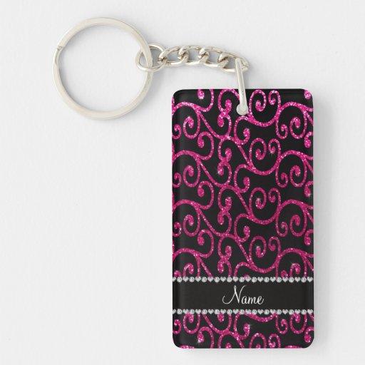 Personalized name neon hot pink glitter swirls key chains