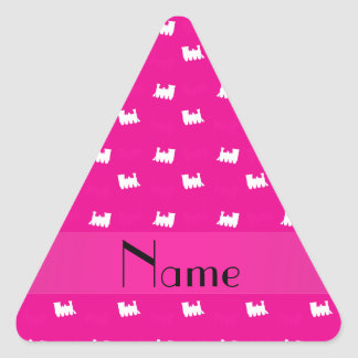 Personalized name neon hot pink train pattern stickers