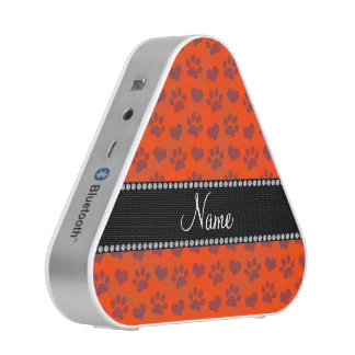 Personalized name neon orange hearts and paw print