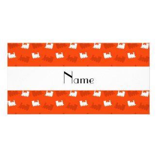 Personalized name neon orange train pattern photo card template