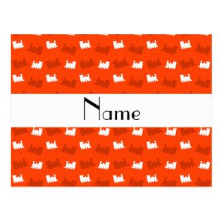 Personalized name neon orange train pattern postcard