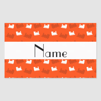 Personalized name neon orange train pattern rectangular stickers
