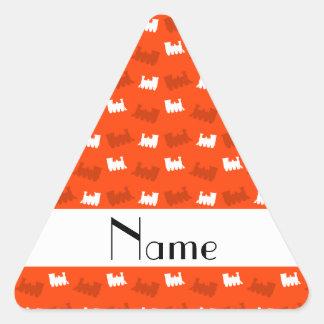 Personalized name neon orange train pattern triangle sticker