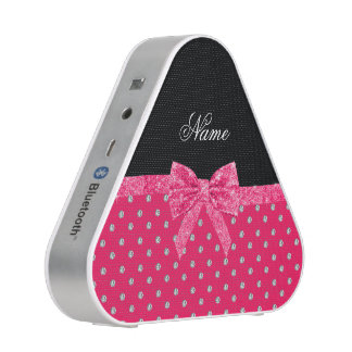 Personalized name neon pink diamonds pink bow speaker