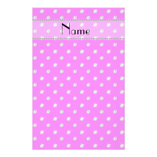 Personalized name neon pink diamonds stationery design