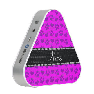 Personalized name neon pink hearts and paw prints