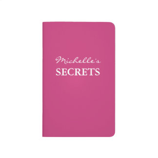 Personalized name neon pink solid color secret journal