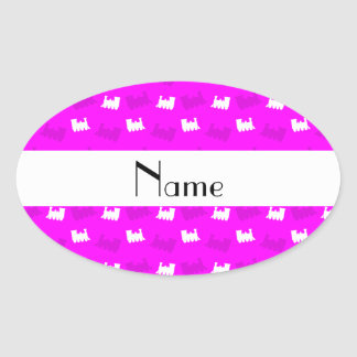 Personalized name neon pink train pattern stickers