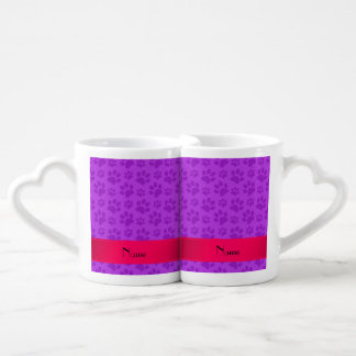 Personalized name neon purple dog paws lovers mug set