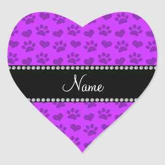 Personalized name neon purple hearts and paw print sticker