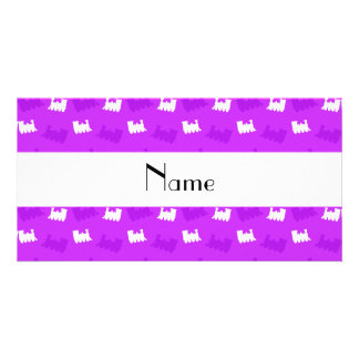 Personalized name neon purple train pattern photo cards