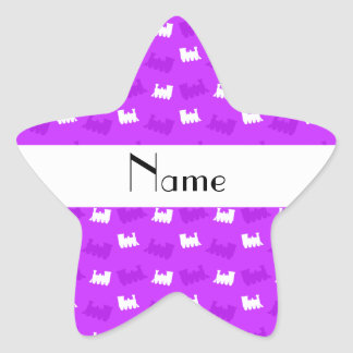 Personalized name neon purple train pattern star sticker
