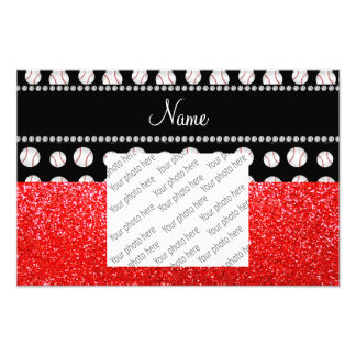 Personalized name neon red glitter black baseball photograph
