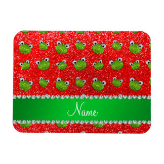 Personalized name neon red glitter frogs rectangular magnet