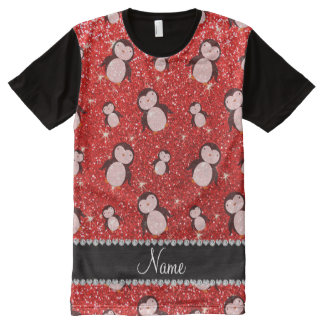 Personalized name neon red glitter penguins All-Over print T-Shirt