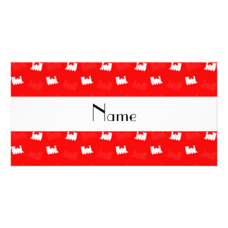 Personalized name neon red train pattern photo card template