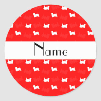 Personalized name neon red train pattern sticker