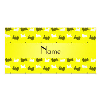Personalized name neon yellow train pattern customised photo card