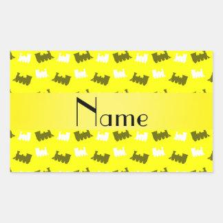 Personalized name neon yellow train pattern rectangular sticker