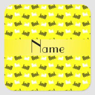 Personalized name neon yellow train pattern square stickers