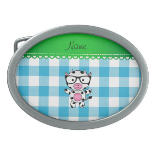 Personalized name nerd cow blue picnic checkers belt buckle