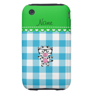 Personalized name nerd cow blue picnic checkers tough iPhone 3 case