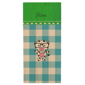 Personalized name nerd cow blue picnic checkers wood USB 2.0 flash drive