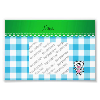 Personalized name nerd cow blue picnic checkers photographic print