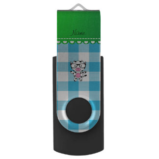 Personalized name nerd cow blue picnic checkers swivel USB 2.0 flash drive
