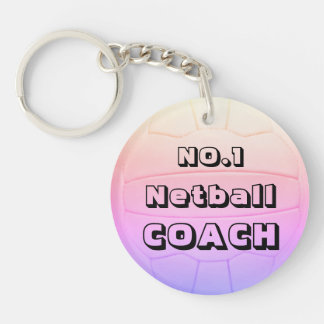 Personalized Name Netball Coach Key Ring
