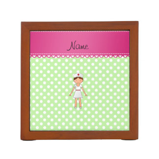 Personalized name nurse green polka dots desk organisers