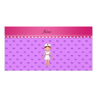 Personalized name nurse pastel purple hearts customized photo card