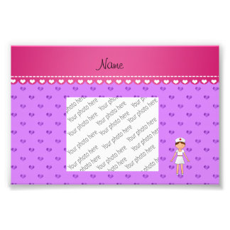 Personalized name nurse pastel purple hearts photo print
