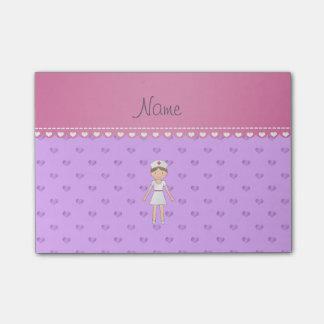 Personalized name nurse pastel purple hearts post-it® notes