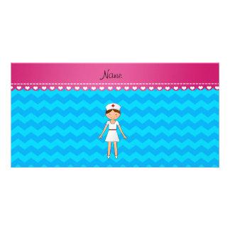 Personalized name nurse sky blue chevrons custom photo card