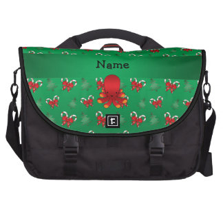 Personalized name octopus green candy canes bows commuter bag
