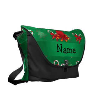 Personalized name octopus green candy canes bows courier bag