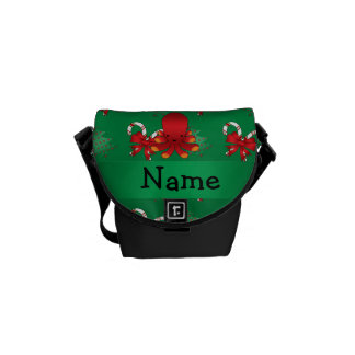 Personalized name octopus green candy canes bows messenger bags