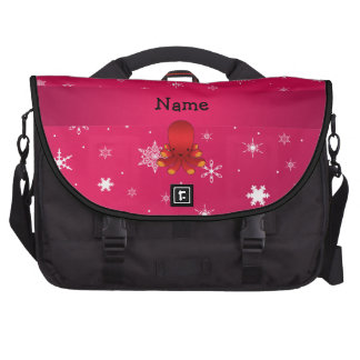 Personalized name octopus pink snowflakes commuter bag