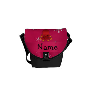Personalized name octopus pink snowflakes messenger bag