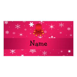 Personalized name octopus pink snowflakes custom photo card
