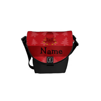 Personalized name octopus red christmas trees messenger bag