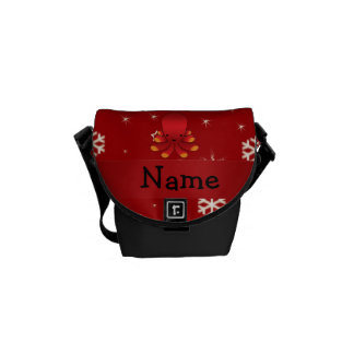 Personalized name octopus red snowflakes messenger bag